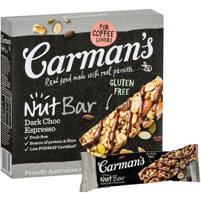 Carman's Dark Choc Espresso Nut Bars 6x200g