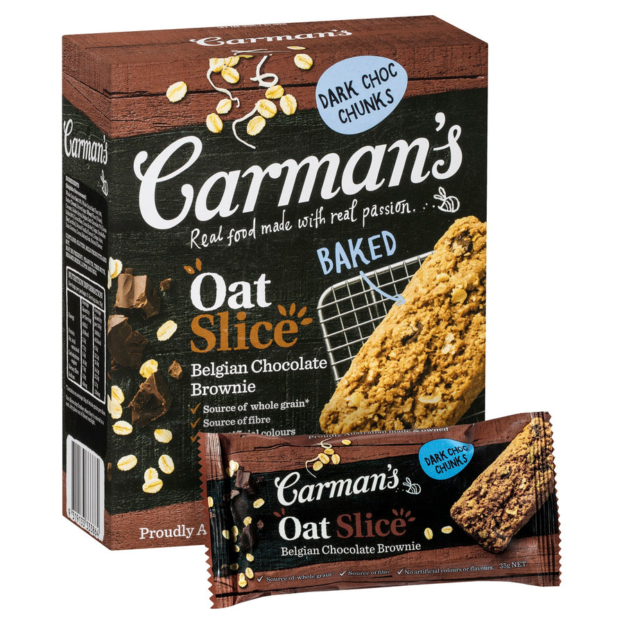 Carman's Belgian Chocolate Brownie Oat Slice 6x210g