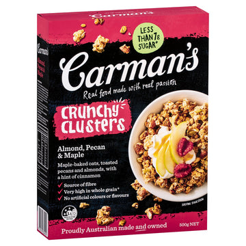 Carman's Almond, Pecan & Maple Clusters 5x500g