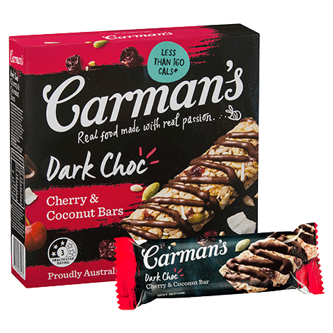 Carman's Dark Choc, Cherry & Coconut Bars 6x210g