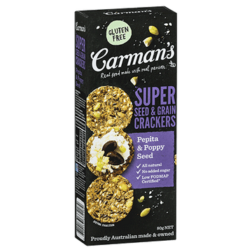 Carman's Pepita & Poppy Seed Super Seed & Grain Crackers 14x80g