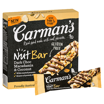 Carman's Dark Choc, Macadamia & Coconut Nut Bars 6x160g