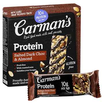 Carman's Salted Dark Choc & Almond  Protein Bars 6x200g