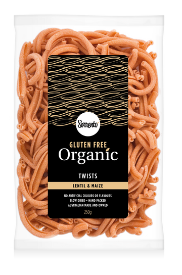 Sorrento Organic & Gluten Free Lentil Maize Twists 6x250g