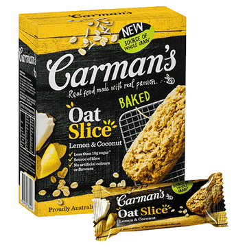 Carman's Lemon & Coconut Oat Slice 6x210g