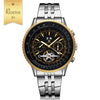 DapperTime Men's Stainless Steel Automatic Movement Silver Gold watch