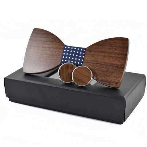 Brown Wooden Bow Tie Cufflink Set