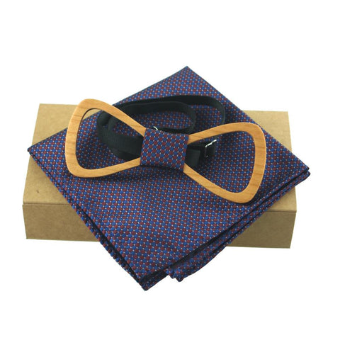 Light Brown Wooden Carved Bow Tie Handkerchief Set