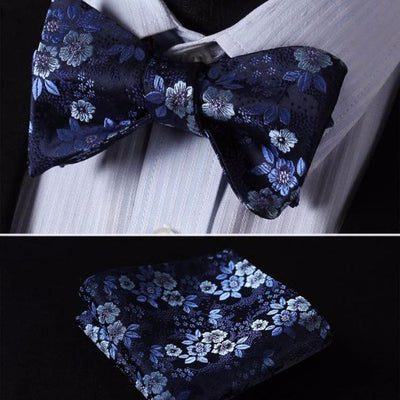 DapperTime Blue Floral Bow Tie Handkerchief Set