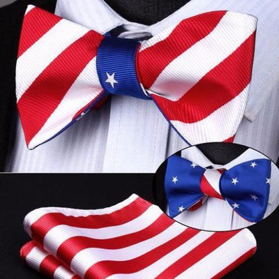 DapperTime Blue Red White USA American flag Reversible Bow Tie Handkerchief Set