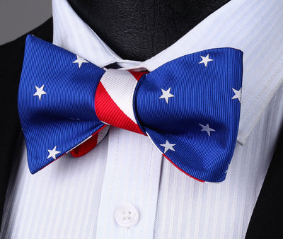DapperTime Blue Red White USA American flag Reversible Bow Tie blue side