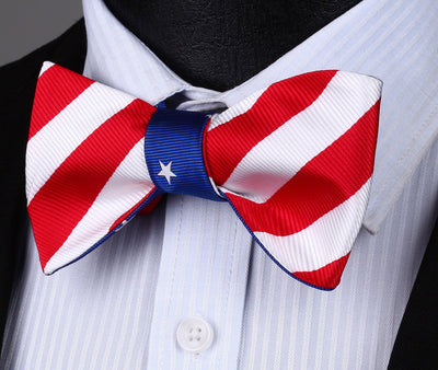 DapperTime Blue Red White USA American flag Reversible Bow Tie red side