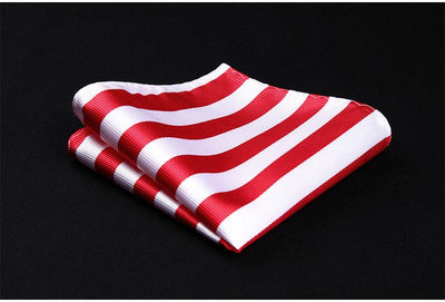 DapperTime Red White USA American Stripes Handkerchief
