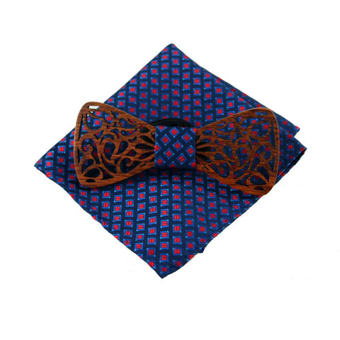 Brown Wooden Carved Bow Tie Handkerchief Set