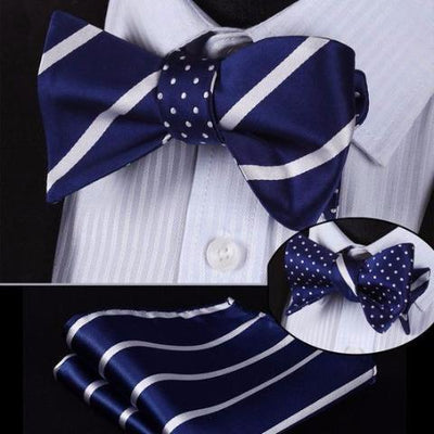 DapperTime Blue White Striped Dotted Reversible Bow Tie Handkerchief Set
