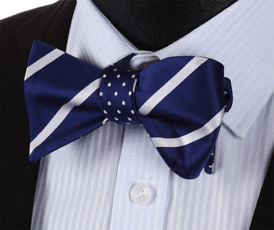 DapperTime Blue White Striped Reversible Bow Tie