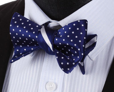DapperTime Blue White Dotted Reversible Bow Tie