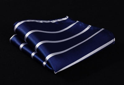 DapperTime Blue White Striped Handkerchief