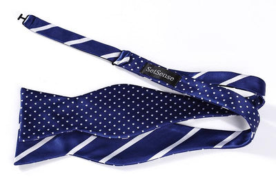 DapperTime Blue White Striped Dotted Reversible Bow Tie open