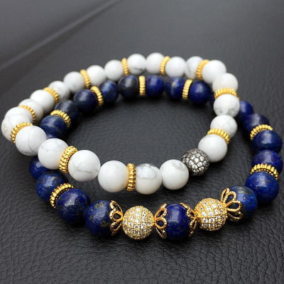 dappertime white blue bead bracelet set