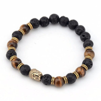 Affordable brown black gold buddha head bead bracelet