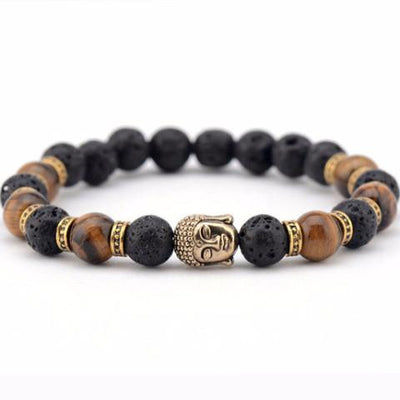 DapperTime brown black gold buddha head bead bracelet