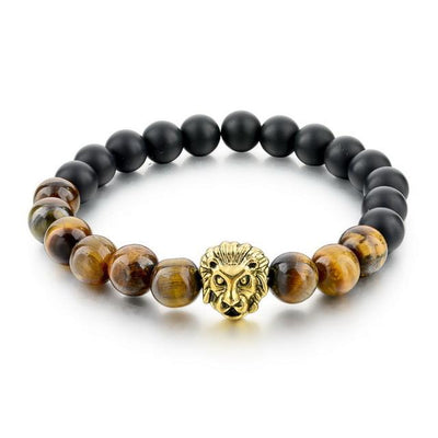 DapperTime brown black lion head bead bracelet