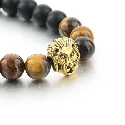DapperTime brown black gold lion head bead bracelet