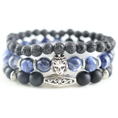 DapperTime black blue silver lion head bead lava bracelet