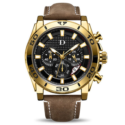 DapperTime Men's Gold & Brown Leather Quartz Chronograph Watch
