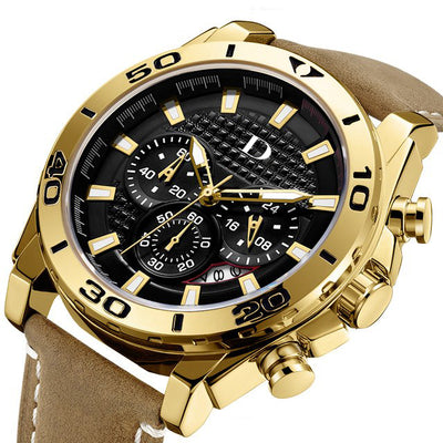 DapperTime Men's Gold & Brown Leather Quartz Chronograph Watch side