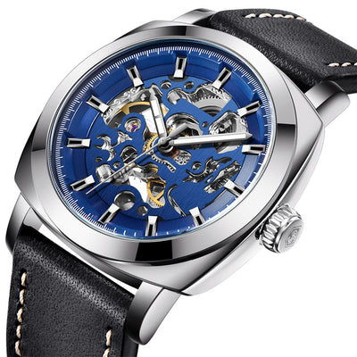 DapperTime Men's Silver & Black Leather Automatic Skeleton Watch side
