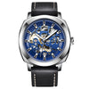 DapperTime Men's Silver & Black Leather Automatic Skeleton Watch