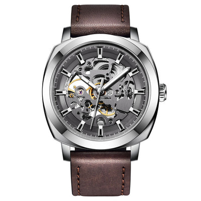 DapperTime Men's Silver & Brown Leather Automatic Skeleton Watch
