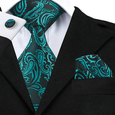 DapperTime Green Floral Tie, Pocket Square and Cufflink Set