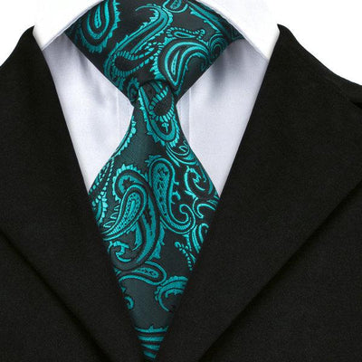 DapperTime Green Floral Tie