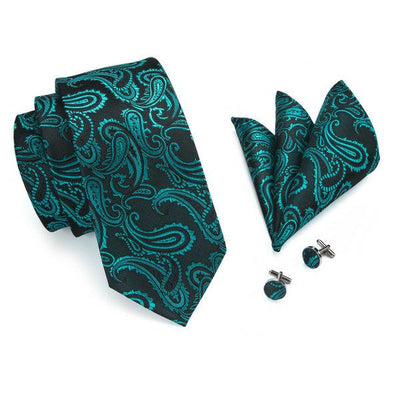 DapperTime Green Floral Tie, Pocket Square and Cufflink Set Top View
