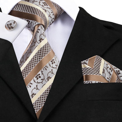 DapperTime Brown and Cream Floral Tie, Pocket Square and Cufflink Set