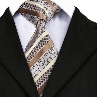 DapperTime Brown and Cream Floral Tie