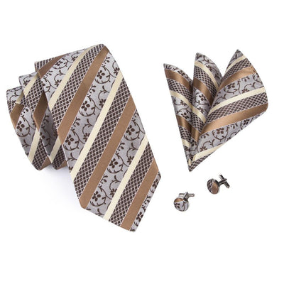 DapperTime Brown and Cream Floral Tie, Pocket Square and Cufflink Set Top