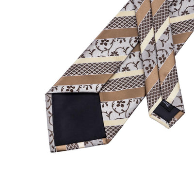 DapperTime Brown and Cream Floral Tie Back