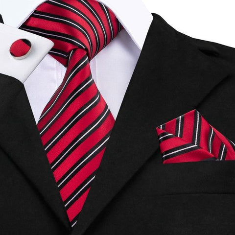 Red Black Striped Tie Handkerchief Cufflink Set