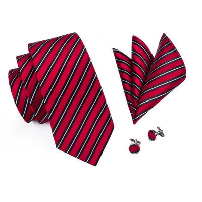 DapperTime Red Black White Striped Tie Pocket Square Cufflink Set Top View