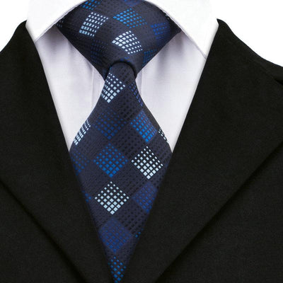 DapperTime Royal Blue Pattern Tie Front
