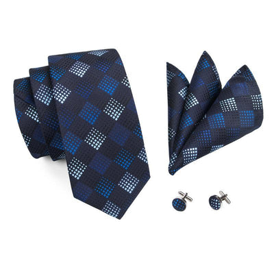 DapperTime Royal Blue Pattern Tie, Pocket Square and Cufflink Set Top View