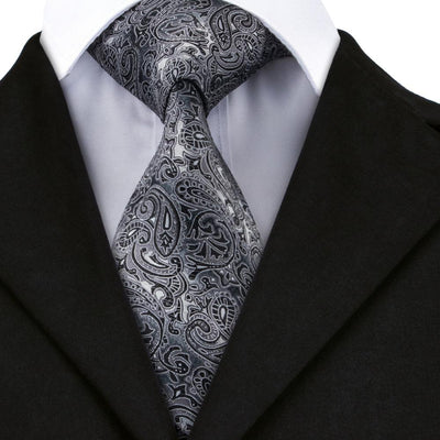 DapperTime Silver Paisley Tie Front