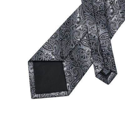 DapperTime Silver Paisley Tie Back