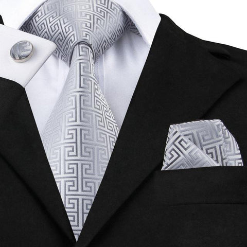 White Grey pattern Tie Handkerchief Cufflink Set