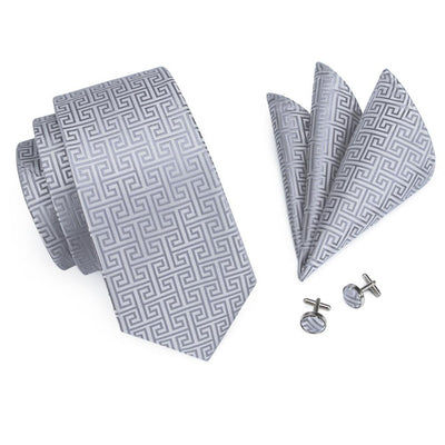 DapperTime Silver Tie, Pocket Square and Cufflink Set Top View