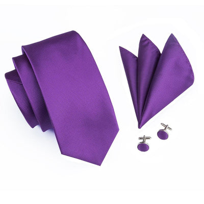 DapperTime Purple Silk Tie, Pocket Square and Cufflink Set Top View